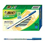 BIC Ecolutions Round Stic Ballpoint Pen, Medium Point (1.0mm), Blue, 50-Count