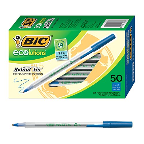 Blue Pen Bic (BIC Ecolutions Round Stic Ballpoint Pen, Medium Point (1.0mm), Blue, 50-Count)