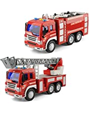 GizmoVine Toy cars for 2 3 years old boys, Friction Fire Truck with Lights and Sounds, Early Education Car Toy Inertial Vehicles for Kids & Toddlers (Set of 2)
