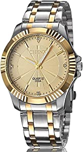Mens Classic Style Silver Golden Stainless Steel Mens Wrist Watches with Crystals For Man Gold