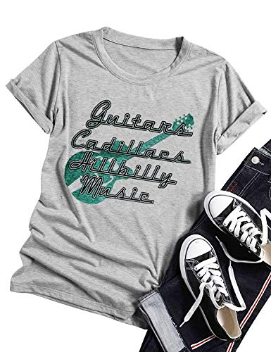 Funny Vintage Guitars Cadillacs Hillbilly Music T Shirt Tops for Women Cute Short Sleeve Country Music Party Concert Tees (XX-Large, Light Grey) -