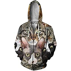 Beloved Shirts Cat Collage Zip Up Hoodie - Premium Graphic Zip-Up Jacket - Large
