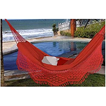 large caliente brazilian hammock with fringe amazon     xl brazilian fabric hammock with fringe   garden      rh   amazon