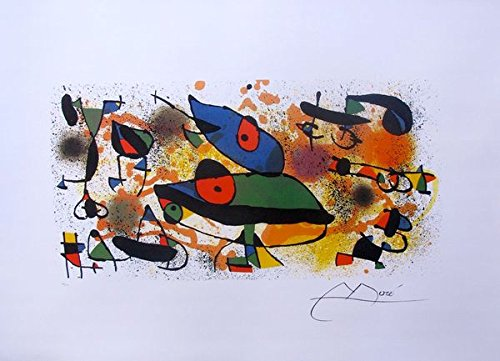 Art by Joan Miro Sculptures Ii Facsimile Signed Limited Edition Lithograph Print. After the Original Painting or Drawing. Paper 23 Inches X 30 Inches Image 12 Inches X 23 - Miro Sculpture