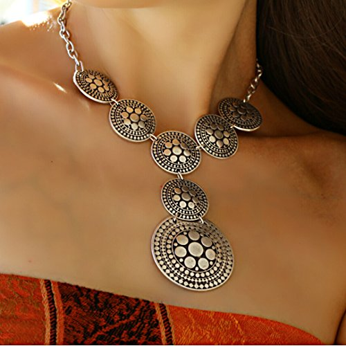 Silver Plated Short Elegant Trendy Chunky Retro Vintage Boho Unique Small Statement Y Necklace by Generic (Image #1)