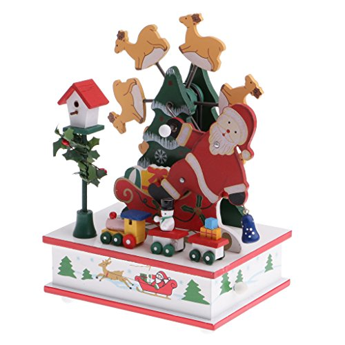 Claus Box Santa Music (MonkeyJack Toy Music Box Xmas Santa Claus w/ Mini Ferris Wheel Train Musical Toy Clockwork Ornaments Party Decor Xmas Sownman Doll)