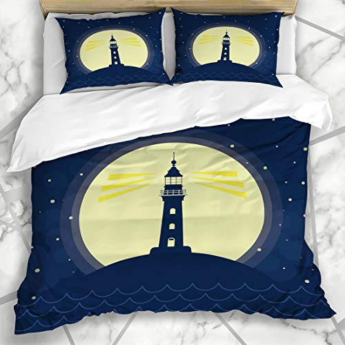 Ahawoso Duvet Cover Sets King 90x104 Beach Lighthouse Full Moon Vawes Stars Lamp Flat Goa Graphic Guide Holiday Design Seaside Microfiber Bedding with 2 Pillow ()