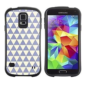 LASTONE PHONE CASE / Suave Silicona Caso Carcasa de Caucho Funda para Samsung Galaxy S5 SM-G900 / polygon pattern clean blue beige