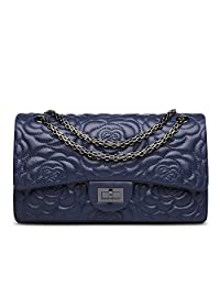 Ainifeel Women's Quilted Flower Genuine Leather Shoulder Bag with Chain Strap Purse (Medium, Blue)