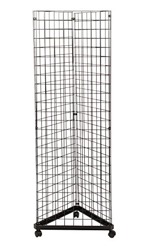 Black Triangle Wire Grid and Grid Wall Tower with Base and - Stands Display Retail