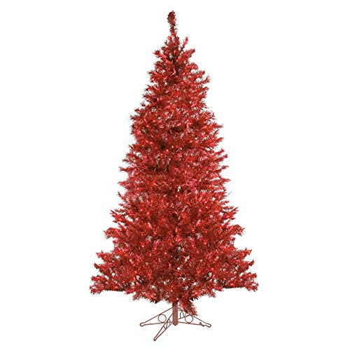 Santa's Own Sparkling Ruby Pre-Lit Laser Tinsel Artificial Christmas Tree with Ruby Lights, 7.5' ()