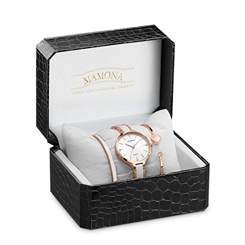 MAMONA Women's Quartz Watch Gift Set Crystal Accented Ceramic and Stainless Steel Rose-Gold L3877RGGT by MAMONA (Image #3)