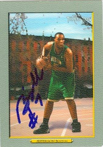 Autograph Warehouse 44785 Al Jefferson Autographed Basketball Card Boston Celtics 2006 Topps Turkey Red No .18