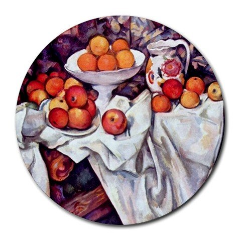 And Cezanne Oranges Apples - Still Life with Apples and Oranges by Paul Cezanne Round Mouse Pad
