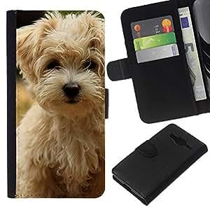 KLONGSHOP // Tirón de la caja Cartera de cuero con ranuras para tarjetas - Norfolk Terrier Puppy Dog Summer - Samsung Galaxy Core Prime //