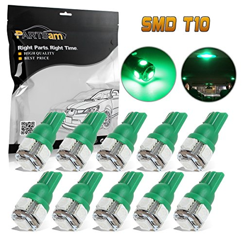 Partsam T10 W5W Wedge 194 168 158 5-5050-SMD Interior Dome Map Reading LED Light Lamp Bulbs, Green, Pack of 10