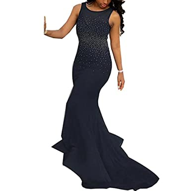LeoGirl Womens Shine Bright Crystal Beaded Long Mermaid Prom Dresses Sexy Open Back Evening Gown (