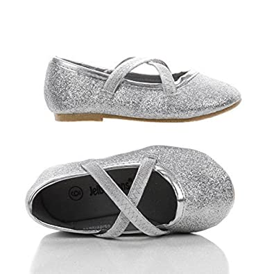 Ballet Silver Infant Girls Sparkling Criss Cross Ballet Slip On Flats 6 Silver Glt