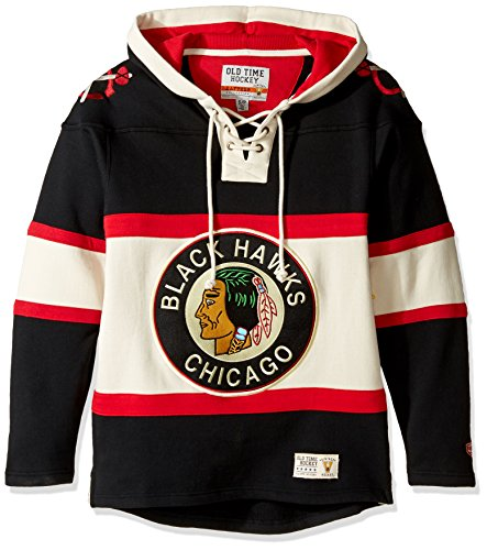 NHL Chicago Blackhawks Men's Alternate Lacer Heavyweight Hoodie, Large, Black