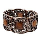 1928 Jewelry Copper-Tone Smoked Topaz Color Stone Stretch Bracelet