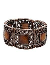 1928 Jewelry Copper-Tone Smoked Topaz Color Stone Stretch Bracelet
