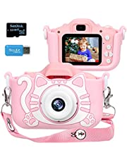 $35 » Langwolf Kids Camera for Girls, Digital Camera for Kids, Upgraded 1000mAh Battery Toys Children Selfie Photo Video Camera with 32GB SD Card, Gifts for Girls Age 3 4 5 6 7 8 9 Years Old