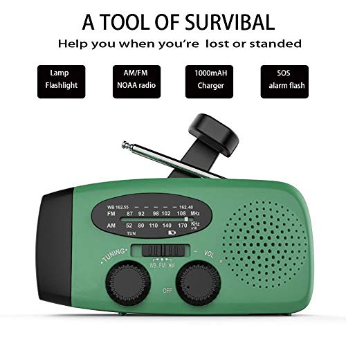 Emergency Hand Crank Self Powered AM/FM NOAA Solar Weather Radio with LED Flashlight, 1000mAh Power Bank Compatible for iPhone/Smart Phone by LeVcoecam (Image #1)
