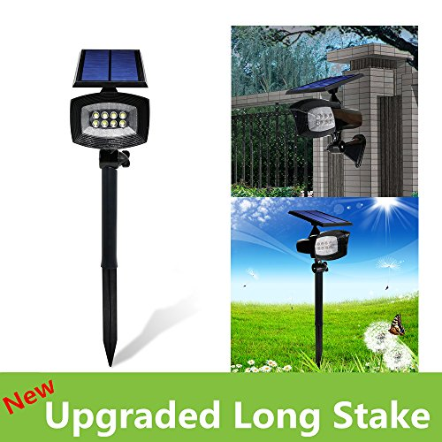 [Upgraded 400 Lumens]USYAO Super Bright 8 LED Solar Spotlight, 2 in 1 Installation, Long Working Battery, Adjustable Light and Panel,Auto-changeable Brightness Modes,Waterproof Home and Garden 2 Pack