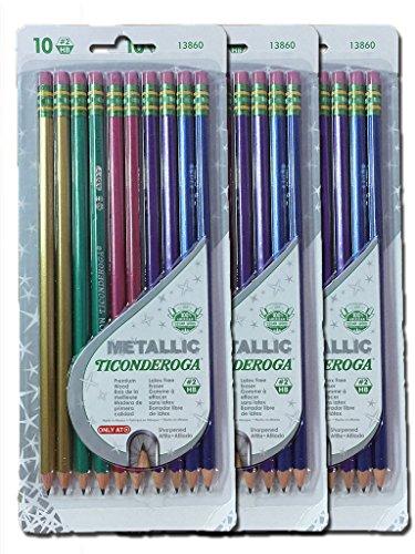 Dixon Ticonderoga Metallic Wood-Cased #2 2HB Pencils, Pre-Sharpened, 30 pack, 13860