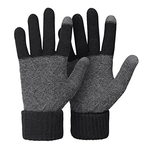 Omechy Unisex Winter Warm Knit Mittens Texting Touchscreengloves For Men And Women