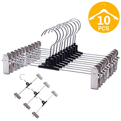 VEHHE Pants Hangers 10 Pack Stackable Skrit Hangers with Non-Slip Big Clips and 360 Rotatable Hook (10 Set)