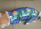 Tangpan Hawaiian Beach Coconut Tree Print Dog Shirt Summer Camp Shirt Clothes (Blue M)
