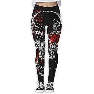 Women's Girl Skull Head Blood Fashion Slim High Waist Tights Yoga Pants Sport Gym Running Fitness Workout Leggings Skinny Long Sportswear