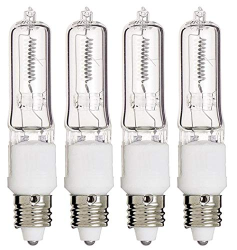 100 Watts Q100CL/MC Single Ended Replacement Halogen Light Bulbs Clear, JD Type, T4 Shape,Warm White E11 Mini Candelabra Base 120 Volts Light Bulbs Pack of 4