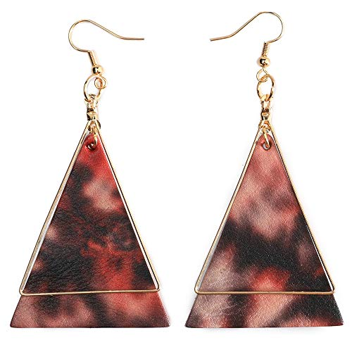 Leather Dangle (Genuine Leather Statement Earrings Triangle Geometric Leather Dangle Drop Geometric Lightweight for Women Girls (Rose Red))