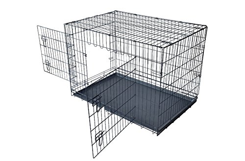 51fGMD8SY7L - Pet Dogs Cat Kennels Durable Cage With Plastic Tray Folding Black 48 Inch 2 Door