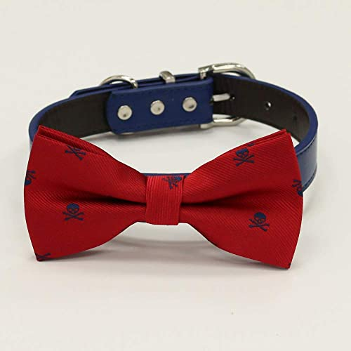 Navy dog collar Red Red Dog Bow Tie Collar Blue Brown bicycle Red dog collar,Handmade leather dog collar,Black