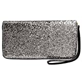 Women Wristlet Wallet - Sequined Clutch Bag with Zipper Closure - Silver, by Beaulegan