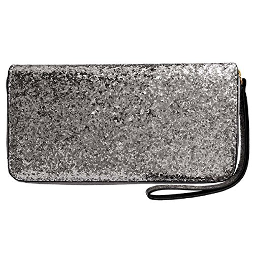 Women Wristlet Wallet - Sequined Clutch Bag with Zipper Closure - Silver, by Beaulegan by BEAULEGAN