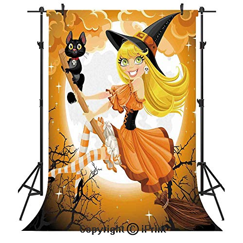 Halloween Decorations Photography Backdrops,Cute Sexy Witch on a Broom with Baby Kitten and Hazy Moonlight Print,Birthday Party Seamless Photo Studio Booth Background Banner 10x20ft,Multi
