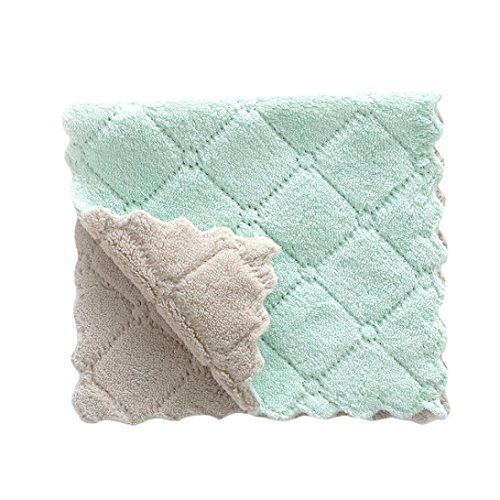 Goodlock Nonstick Oil Coral Velvet Hanging Hand Towels Kitchen Dishclout Dishcloth Rag (Green) -