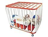 Markwort 36 Ball Capacity Tubular Steel Basketball Cage, Orange/White