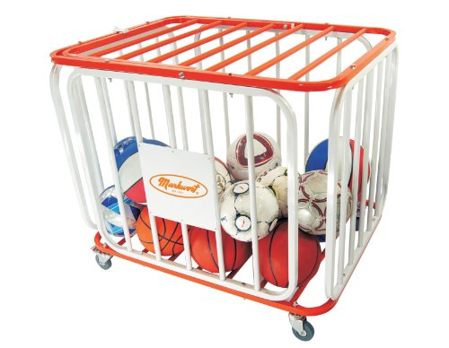 Markwort 36 Ball Capacity Tubular Steel Basketball Cage, Orange/White by Markwort