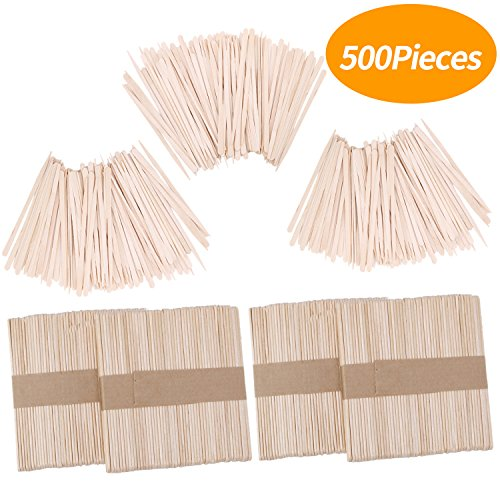 Senkary 500 Pieces Wax Sticks Waxing Sticks Wood Wax Applicator Sticks Wooden Craft Sticks Wax Spatula for Hair Eyebrow Removal (200 Pieces Large and 300 Pieces Small)