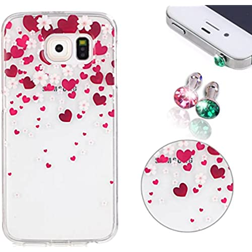 Soft TPU Case for Samsung Galaxy S7, Pershoo Sakura & Heart Colorful Printing Protective Bumper Slim Case + 2pcs Crystal Bling Anti Dust Plug Ultra Thin Anti-Gray Sales