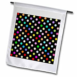 InspirationzStore Polka Dot Designs - Colorful Polka dot pattern on black - Rainbow Multicolor Cute Dots and Spots Patterns - 18 x 27 inch Garden Flag (fl_56682_2)