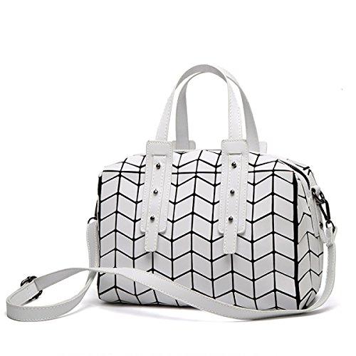 Frau Boston Handtasche Geometrische Klapptasche Diagonale Umhängetasche Elegante Mosaik Tasche Personalisierte Mode Kissen Tasche,Silver-OneSize CHENGXIAOXUAN