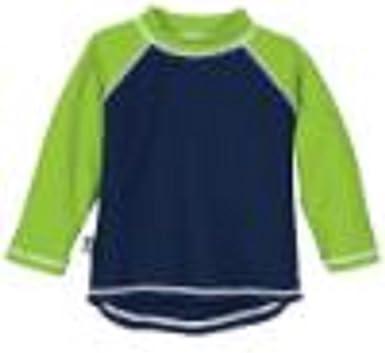 Sun Smarties Boys Long Sleeve Swim Shirt Navy 12M, Navy//Green Sleeves
