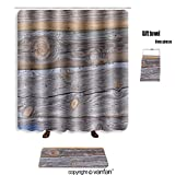 vanfan bath sets Polyester rugs shower curtain texture wood gray 496239160 shower curtains sets bathroom 66 x 72 inches&23.6 x 15.7 inches(Free 1 towel 12 hooks)