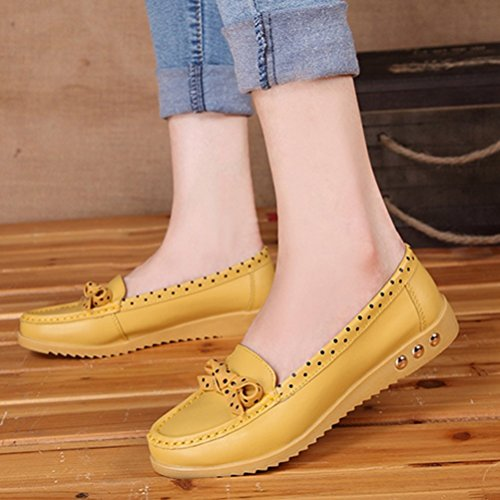 Clode® Slip Schuhe Bowknot Damen Comfort Schuhe Halbschuhe Flache Gelb On Flats Schuhe 77HqpBxw4